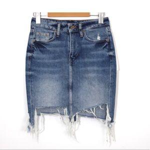 Distressed low waist denim  skirt